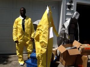 Bobby Smith prepares items for shipment to Sierra Leone to help with Ebola outbreak.  PHOTO | Bobby Smith