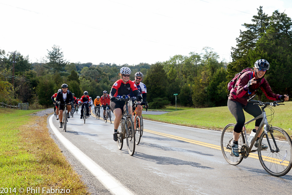 Cyclists in support of Operation Second Chance ride up River Road in Seneca MD