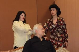Elsa Greer (Lauren Patten, left), Amyas Crale (Peter Harrold) and Caroline Crale (Jenn Robinson) form a deadly love triangle in Agatha Christie's Go Back for Murder at Rockville Little Theatre.  Photo | Ken Kemp