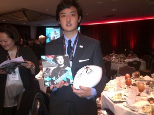 Patrick  Cha celebrates his being a Wendy's High School Heisman National finalist in New York. PHOTO   Victor Cha