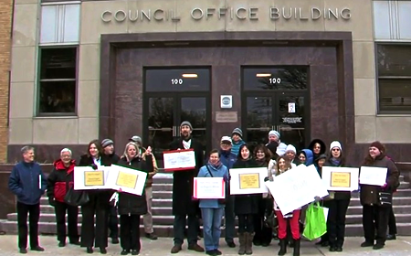 photo of rally by SaveBlairEwing group at Council Office Building