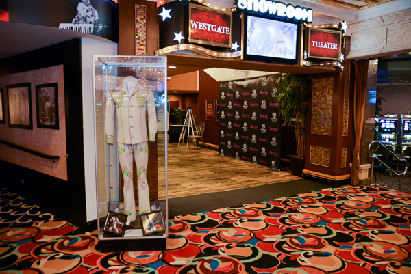 Elvis Presley's handcrafted Mermaid white leather suit - circa 1974 - outside of the Showroom in Las Vegas
