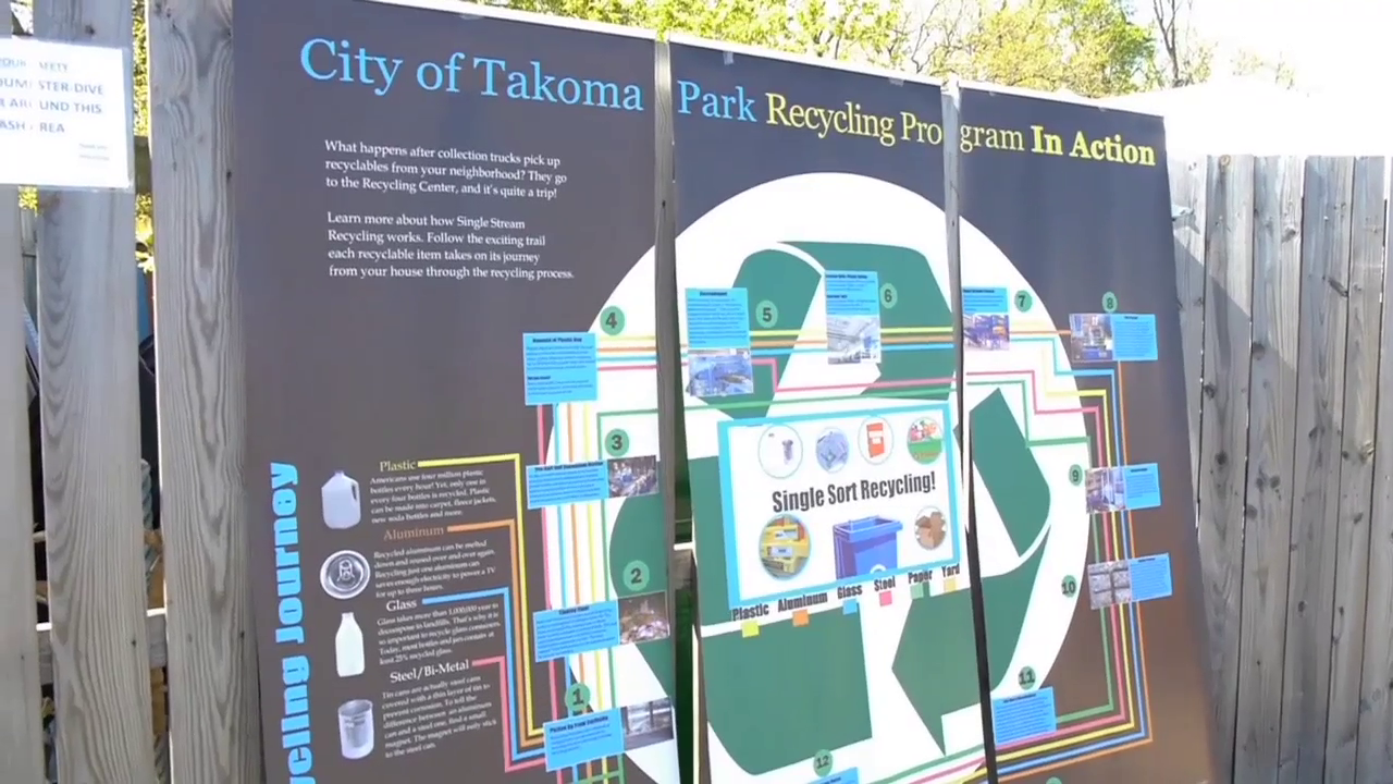 photo of sign in Takoma Park about the city's recycling efforts