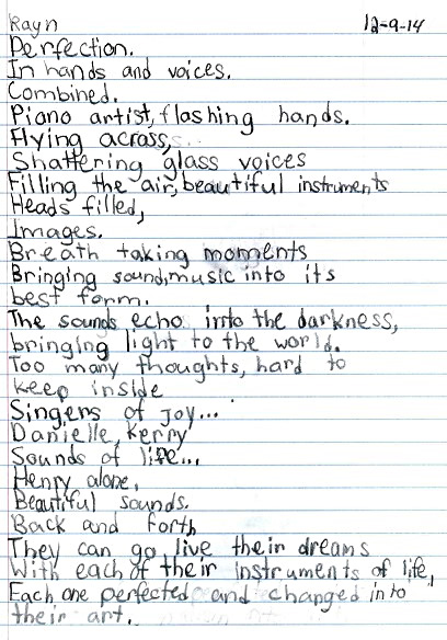 photo of poem written by Rayn