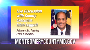 graphic for feb 24 online discussion with Ike Leggett