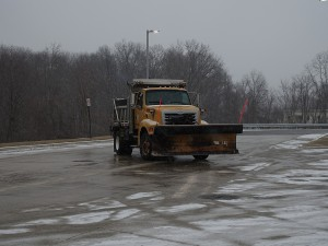 Montgomery County Sal Truck with plow at Salt Barn on Crabbs Branch Way