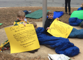 photo of MCPS Sleep In protest Feb. 9