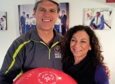 Tim Shriver and Nancy Frohman at the Special Olympics headquarters in DC.