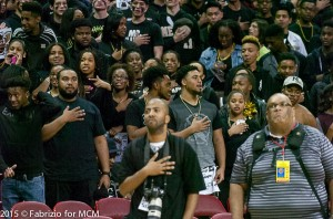 Meade student body singing the National Anthem