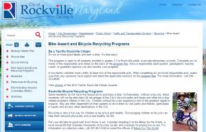 Rockville terrific bikes program