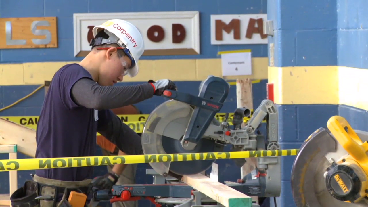photo of MCPS student competing in SkillsUSA competition