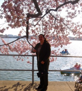 Diana Belchase under one of D.C.'s famous cherry trees. (c)