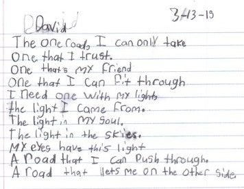 David writing