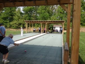 Riderwood residents and Springbrook High School students played bocce on May 8.
