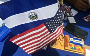 USA & El Salvador Flags at Salvadoran Festival in Wheaton 2015