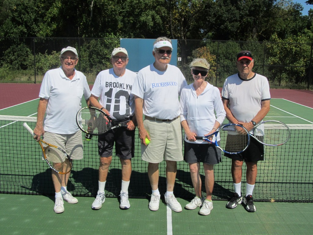 Team Riderwood comes together following the Erickson Living Tennis Tournament on September 9.  Pictured from left to right are Paul Johnson, Joel Sarnoff, Charles Slaugh, Norma Slaugh and Ed Milligan.  Team members Susan Rogers and Jim Morgan were not available for the photograph.