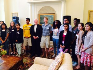 Students andprogram founder and benefactor, Dr. William Leahy - CNA Kickoff