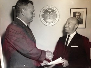 This looks like the the early 1960s (notice the skinny tie).  Could it be the day Harry spoke to JFK about – of all things – speed reading?
