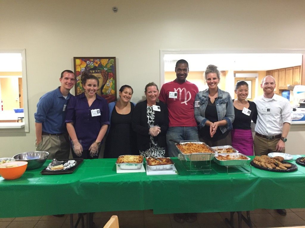 Employee and friends of Riderwood retirement community took part in a service project at the Children's Inn at NIH in Bethesda.  Pictured from left to right are Wesley McDaniel, Samantha Kramer, Amy Holzer, Michelle Glodeck, Anthony Jenkins, Sarah Jenkins, Molly Hines and Brian Koen.