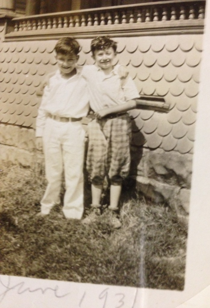 Harry (in knickers) -- the 10-year-old boy  who saw his future in the sky -- poses with  his cousin Maury Zubkoff in Buffalo.