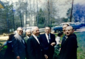 A few of the poker players gather, in April 1961, with others outside of the Jewish Community Center, later renamed Mishkan Torah, in Greenbelt, MD