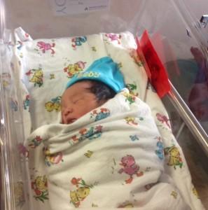 Baby Nathan was born at 1:31 a.m. on Jan. 1 at Shady Grove Medical Center.