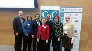 (l:r) Jerry Therrien, Owner, Therrien Waddell, Inc.; Robyn Quinter, President, Quinter Design; Devang Shah, Partner, Shah & Kishore; Marilyn Balcombe, GGCC Executive Director; Shahab Kaviani, Co-founder, Breezio; Eileen Cahill, Vice President Government & Community Affairs, Holy Cross Health; Martha Schoonmaker, Executive Director, Hercules Pinkney Life Sciences Park - Montgomery College at the GGCC Entrepreneur Breakfast Series on Wednesday, February 10, 2016. (photo credit: Laura Rowles, GGCC Director of Events & Marketing)