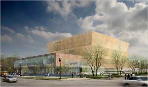 A rendering of the National Museum of African American History and Culture