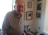 Robert Davis in his office at Riderwood retirement community.