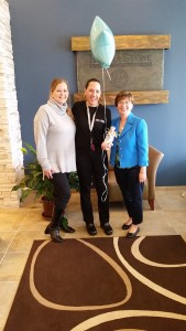 (l:r) Laura Rowles, Director of Events & Marketing, Gaithersburg-Germantown Chamber; Kay Hechler, Owner, Hand and Stone Massage and Facial Spa and Marilyn Balcombe, Executive Director, Gaithersburg-Germantown Chamber celebrate National Small Business Week. Hand and Stone Massage and Facial Spa have been a GGCC Member for two years.   (photo compliments of Hand and Stone Massage and