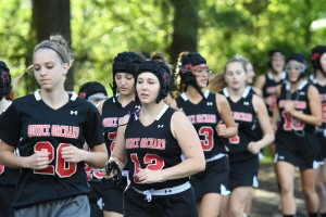 Quince Orchard Girls Lax team warms up