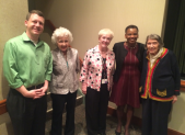 The resident-led Democratic Club of Riderwood retirement community hosted State Delegates Eric Luedtke and Pam Queen for a legislative update on May 11.  Pictured from left to right are Delegate Luedtke, Millie Bluestein, Lyn Doyle, Delegate Queen and Anna Owens.