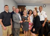 """SAYING THANK YOU: Riderwood employees and three of its vendors partnered to renovate the kitchen and lounge area at Calverton Fire/EMS Station 841 on Powder Mill Road.  A celebratory """"reveal"""" was held at the station on July 8 with those involved in the project."""