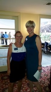 """(l:r) Marilyn Balcombe, Gaithersburg-Germantown Chamber of Commerce President & CEO and Elizabeth Cromwell, Frederick County Chamber of Commerce President & CEO at the 5th Annual """"Evening of Networking  – Chambers Join Forces"""" on September 21, 2016 at the Comus Inn.   (Photo credit – Laura Rowles, GGCC Director of Events & Marketing)"""