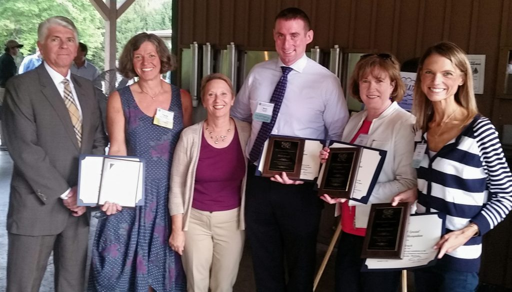 (l:r) Jeff Samuels, Field Representative for Congressman John Delaney (MD06); Pascale Brady, Global Life Coaching LLC; Marilyn Balcombe, Gaithersburg-Germantown Chamber of Commerce Executive Director; Brett Rough, Aerotek; Eileen Cahill, Holy Cross Health; and Brooke Bruch, Contemporaries, Inc. receive Exceptional Volunteer awards at the GGCC Annual Membership & Volunteer Picnic on September 15, 2016. (Photo credit – Laura Rowles, GGCC Director of Events & Marketing)