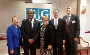 """(l:r) Marilyn Balcombe, GGCC President/CEO; Isiah """"Ike"""" Leggett, Montgomery County, County Executive;  Nancy King, State Senator - District 39; Brian Feldman, State Senator- District 15 and Adam Cox, Senior Manager - Facilities ,Hughes Network Systems at the Gaithersburg-Germantown Chamber of Commerce 11th Annual Upcounty Business Breakfast Briefing held at Hughes Network Systems on Tuesday, October 4, 2016.  (Photo Credit: Laura Rowles, GGCC Director of Events & Marketing)"""