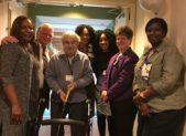 Riderwood, the Erickson Living retirement community, held a ribbon cutting ceremony on November 1 to open The Glen at Orchard Point, the new assisted living expansion.  Pictured from left to right are Myra Clary-Peterson (Assisted Living Manager), Gary Hibbs (Executive Director), Mr. Tobias Sultan (first resident of The Glen), Peace Oke (Director of Nursing), Eunice Jallah, (Marketing Liaison), Lori Hamilton (Director of Extended Care) and Susan Barber-Richards, RN (Wellness Manager).