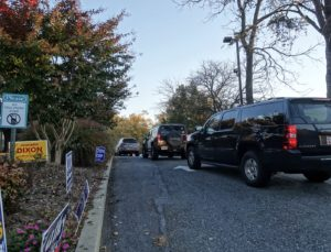 potomac cars lines up on election day