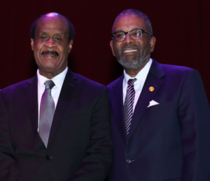 County Executive Ike Leggett and Victims' Rights Foundation President Gregory Wims