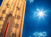 istock Thermometer Sun 40 Degres. Hot summer day. High Summer temperatures