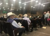 Crowd at hearing on legal representation hearing.