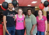 (l:r) iLoveKickBoxing's Ryan Simpson, instructor; and Emallie Daniels, studio manager; with Gaithersburg-Germantown Chamber of Commerce Board Members; Colette Releford, RealPage, Inc.; and Brittany Hilton, Hughes Network Systems, LLC; at the grand opening of Gaithersburg's new & unique way to workout, iLoveKickboxing Gaithersburg.  (photo credit: Laura Rowles, Director of Marketing, Gaithersburg-Germantown Chamber.)