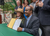 GLEN ECHO, MD JULY 20, 2018:  Montgomery County Executive Ike, Legget and Acting Director, National Captial Region, NPS Lisa Mendelson sign a 10 year Cooperative agreement for continued use of Glen Echo Park  (Photo by Phil Fabrizio for Glen Echo Park Partnership)