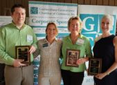 (l:r) David McCormick-Goodhart, Financial Advisor at Savant Capital Management; Marilyn Balcombe, Gaithersburg-Germantown Chamber of Commerce Executive Director; Shannon Gorman is the President of Gorman's Garments & Gear; Martha Schoonmaker, Executive Director, Pinkney Innovation Complex for Science & Technology at Montgomery College, receive Exceptional Volunteer awards at the GGCC Annual Membership & Volunteer Picnic on September 20, 2018.  (Photo credit – Laura Rowles, GGCC Director of Events & Marketing)